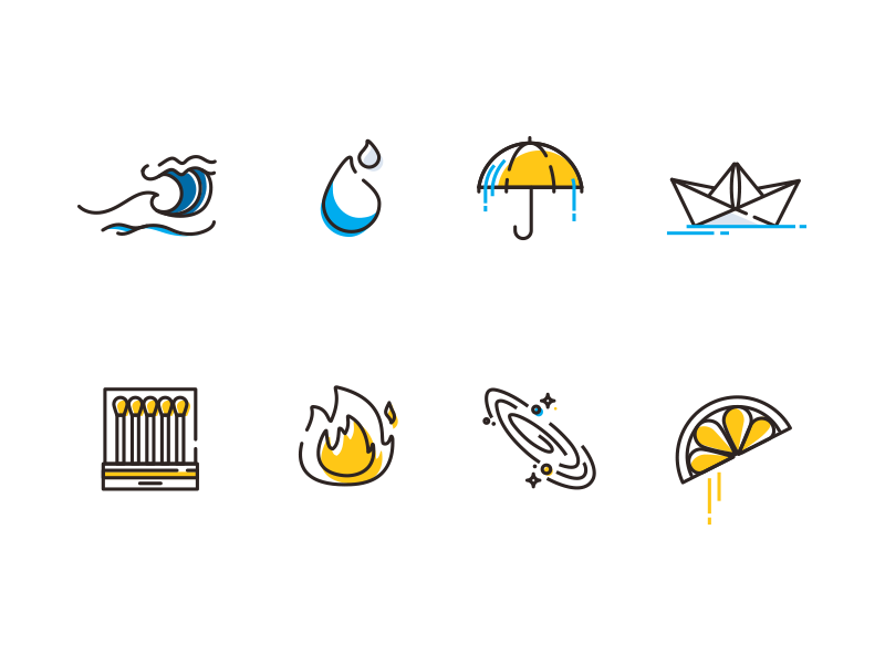 Fire, water & space-lemons? umbrella matches galaxy icon set icons