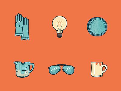 Few T'ings icon glasses mug sun coin lightbulb gloves
