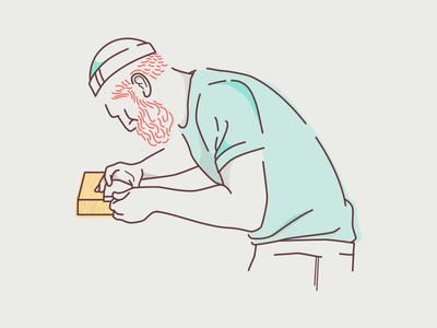 Woodworking illustration character woodworking beard