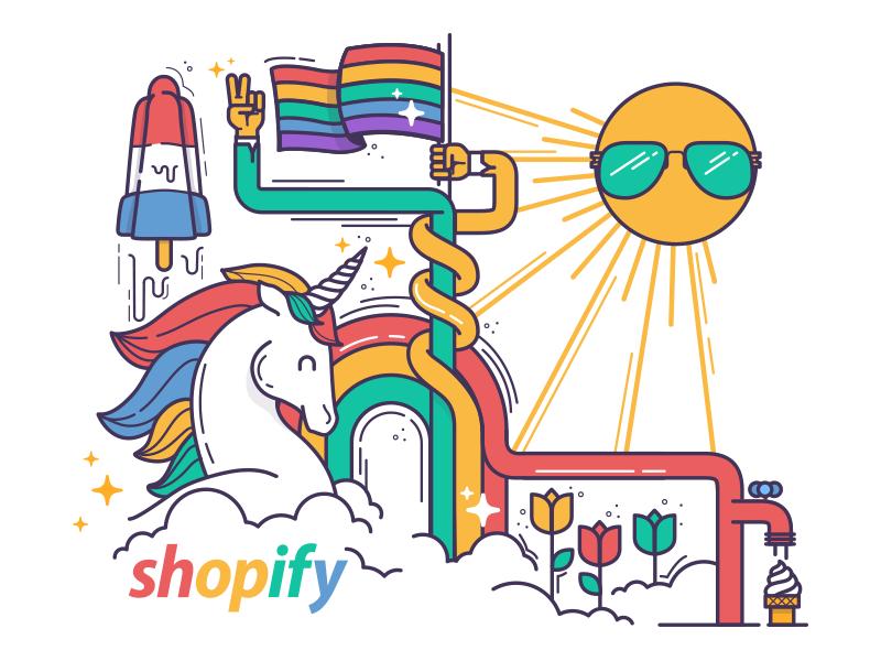 Shopify Pride rainbow ice cream unicorn illustration