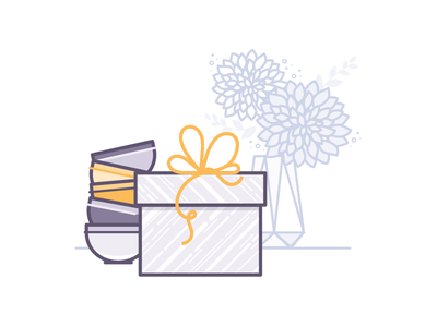 Gifts & Collectibles  bowls illustration present flowers