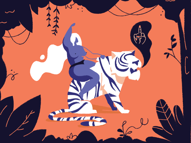 Come at me bro creative brain time brushes illustration woman tiger