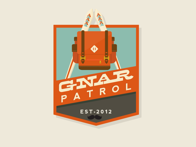 Gnar Patrol (Sans Sean The Bunny) badge gnar ski mountains backpack moustache