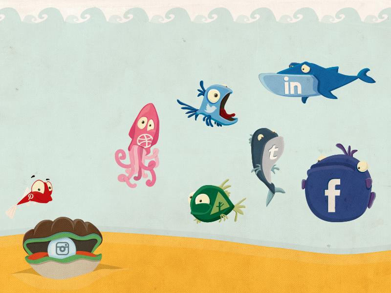 Freebie: Social Fish freebie psd vector fish dribbble linkedin facebook tumblr forrst instagram pinterest