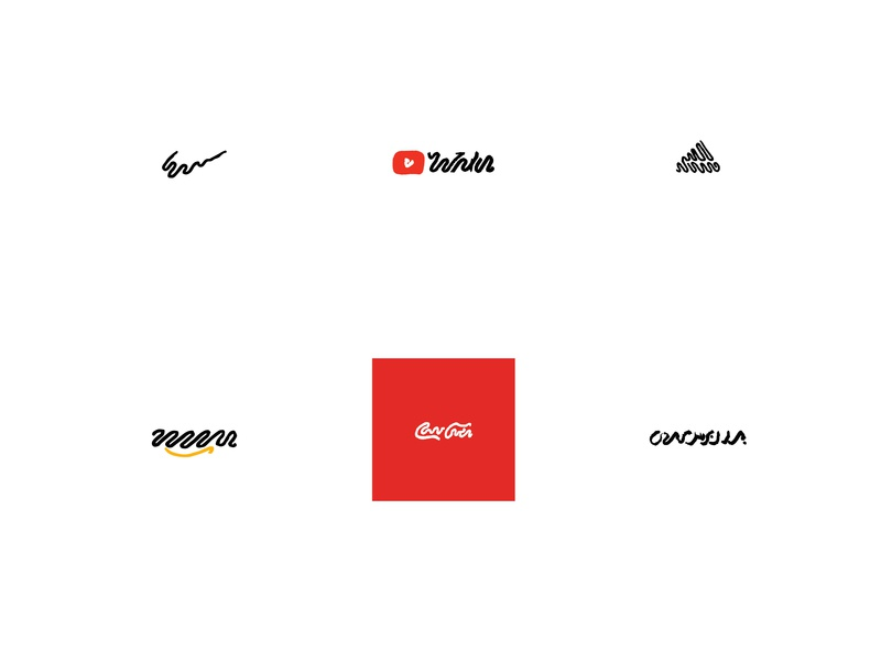 Recreated logos using only squiggles cocacola adidas nike google squiggle logos line art brand identity minimal brand branding sketch minimalism linework lineart illustration art vector design logo