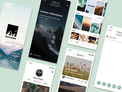 Wayfarer App UI product design ui design travel app travel app design ios app ux branding design ui