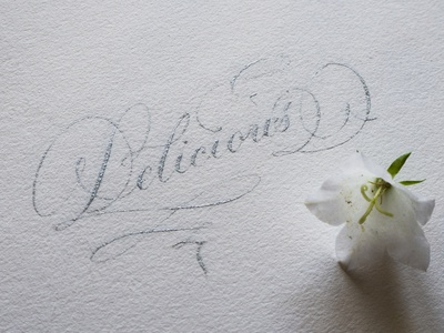 Delicious hand drawn calligraphy typo hand lettering typography lettering