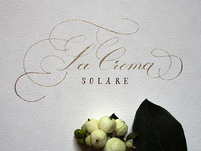 La Crema Solare hand drawn calligraphy typo hand lettering typography lettering