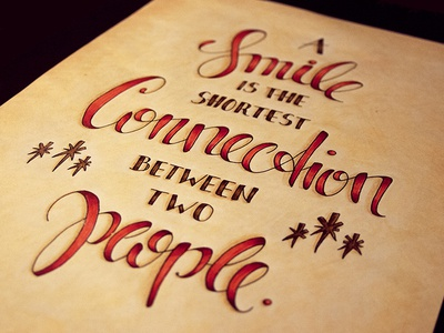 A Smile is the shortest Connection between two people lettering hand lettering typography typo drawing hand drawn calligraphy writing type handwriting