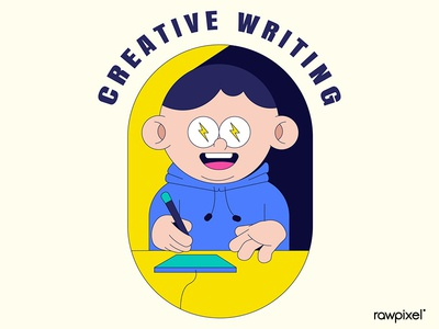 Creative writing badge design vector
