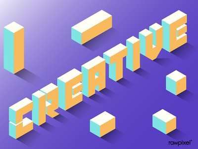 Yellow isometric alphabet creative word vector