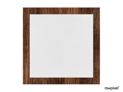 Square brown wooden frame template vector