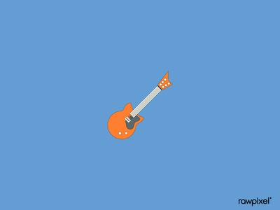 Orange electric guitar element on blue background vector