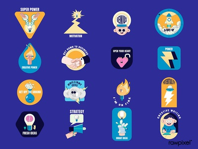 Creative motivational badge collection vector