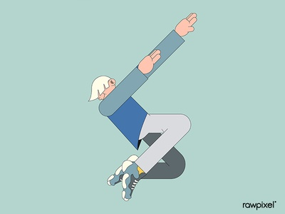 Young male character dabbing on mint green background vector