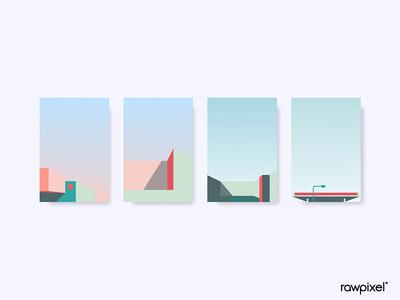 Minimal pastel background design vector set