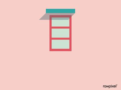 Minimal window on a pastell pink wall