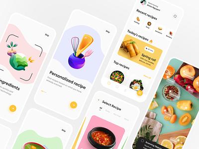 AR Recipe Mobile App food scanning ui concept illustration ui design recipe app scan ar mobile app app ui