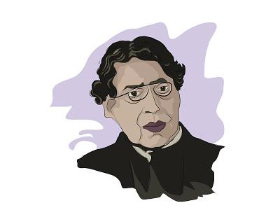 Jagadesh Chandra Bose portrait design illustration vector