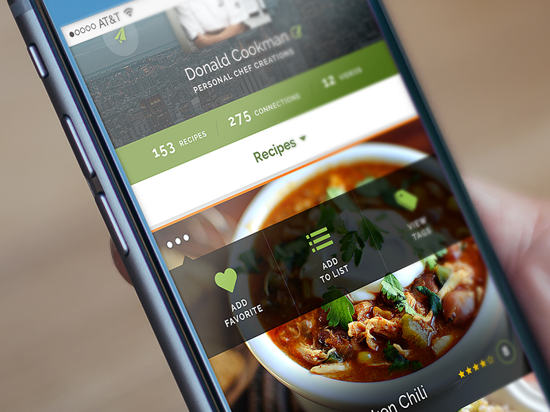 Profile Recipe View for Modernmeal mockup ios food app mobile