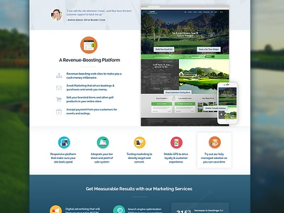 121 New Features Page features blue golf web