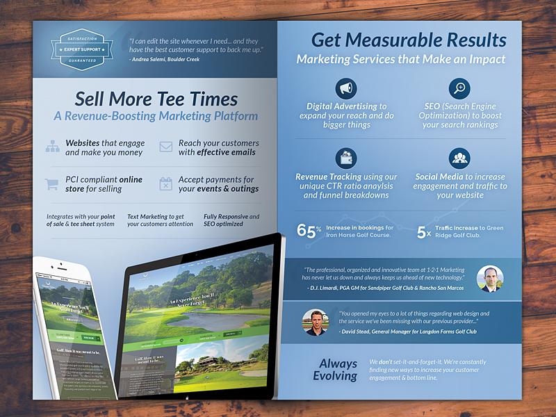 Golf Marketing Brochure print blue golf marketing brochure