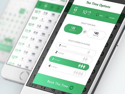 Book It Again app iphone golf ux ecommerce booking ui green