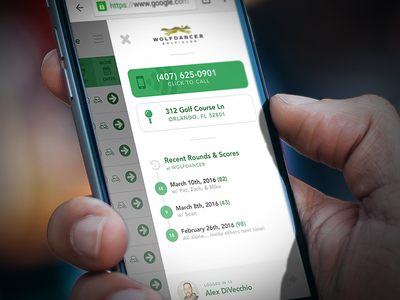 Booking Engine Slideout Panel contact booking golf ux ui green iphone app web mobile