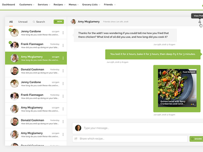Messaging UI green ui messaging chat