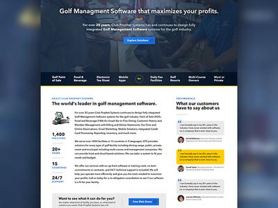 Golf POS Company Design yellow gray blue content ui homepage golf
