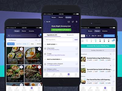 Meal Planning App planner calendar mobile app app apple mobile invision ux ui