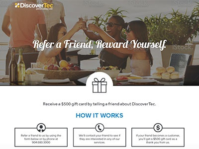 Refer A Friend Landing Page wireframe mockup referral