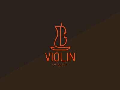 Violin Cafe - Logo Design cafe cafe logo typography sign branding vector logo illustration design brand identity