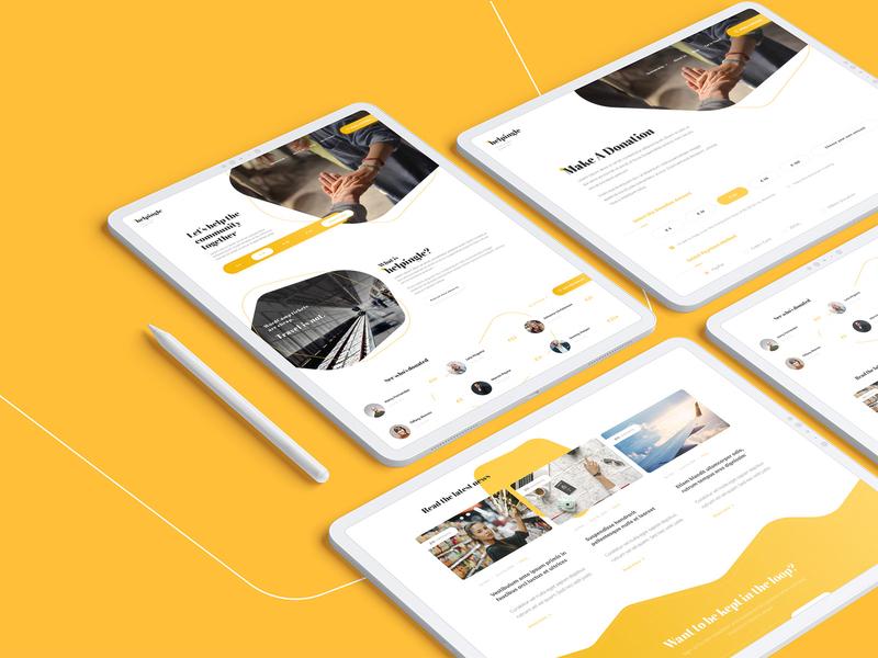 Helpingle community mockup layout ui campaign crowdfunding donate helping money charity help branding template design