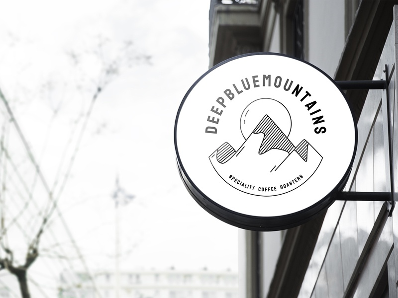 Deep Blue Mountains coffee brand logo design logotype logo