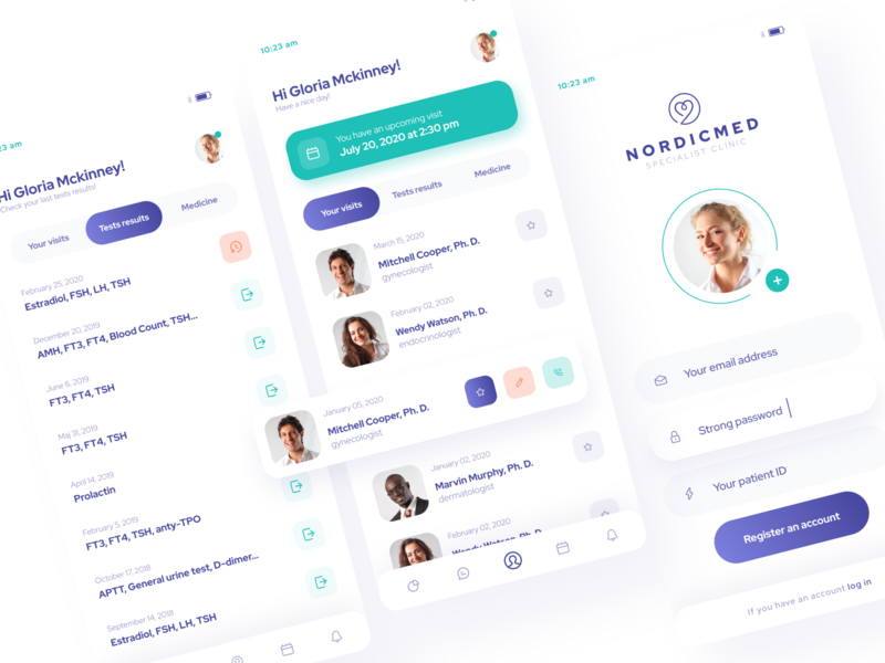 App Design for a Medical Clinic - Patient Profile healthy patient health medicine medical app medical application mobile app design design app