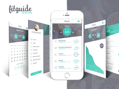 FitGuide - Diet & Sport App Design psd kit ui ios android application sport healthy fit design app