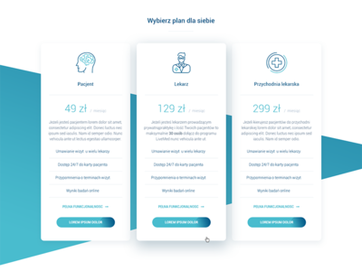 Pricing tables - medical website icons cta medicine medical ux ui design columns price table pricing