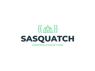 Sasquatch green trees forest wordpress twig code logotype design logo sasquatch