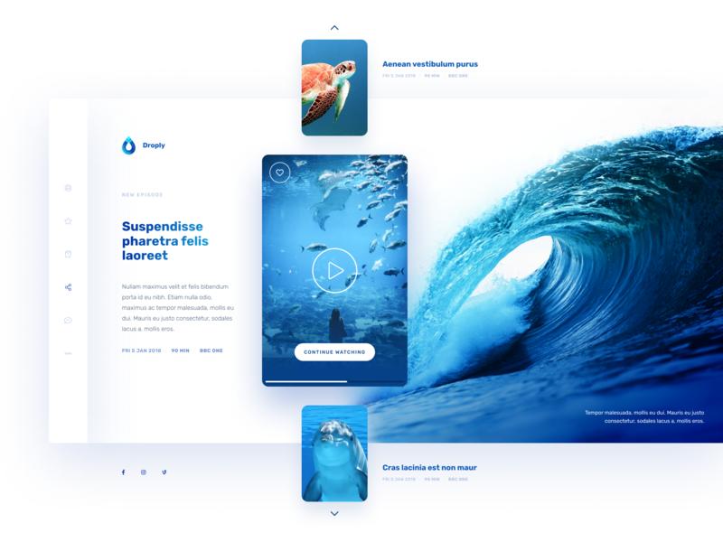 Droply TV player slider design user inteface ocean blue tv uxdesign uidesign webdesign