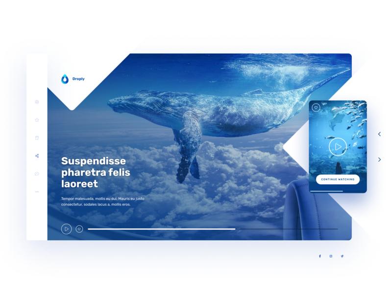Droply Player ui ux design netflix nature water design webdeisgn hero video player