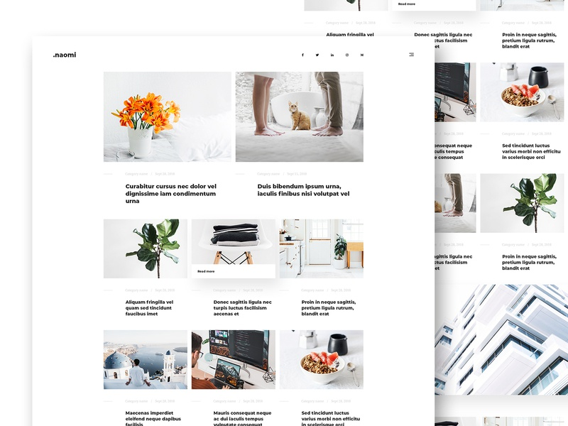 Naomi - Blog & Portfolio PSD Template webdesign ui psd design theme clean minimal white template web design portfolio blog psd