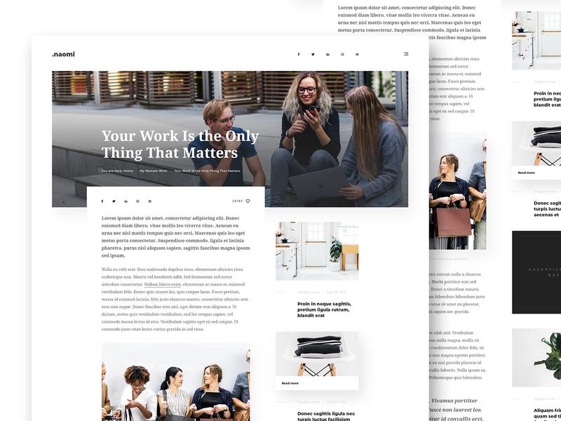 Naomi - Blog & Portfolio PSD Template modern adobe mini website site entry post creative psd template minimal portfolio blog webdesign design