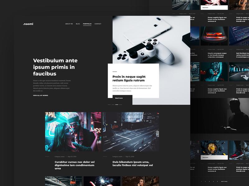 Naoimi Template - Dark post blog psd webdesign ui green layout template design template