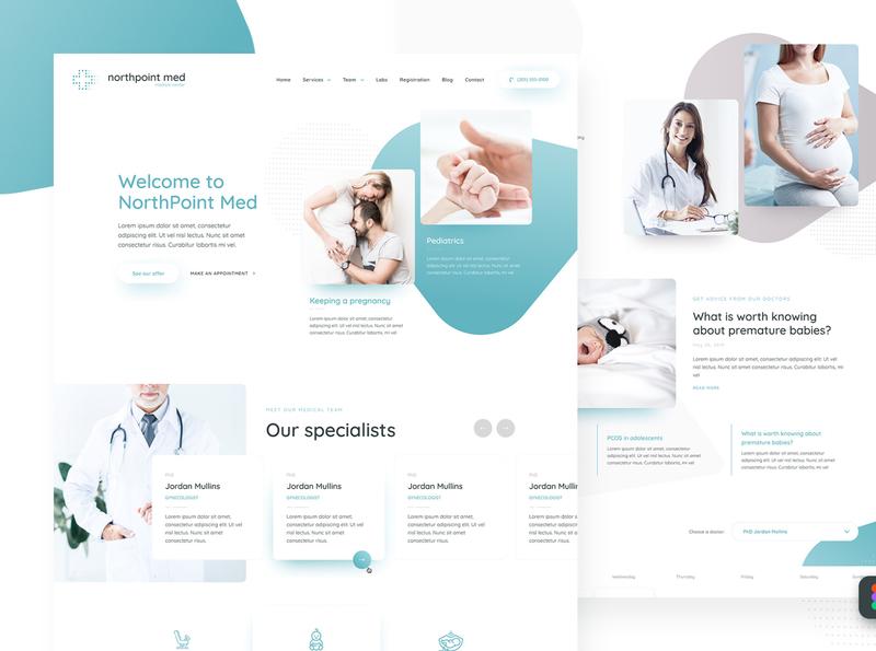 NorthPoint Med figma template webdesign layout design doctor pregnancy pregnant hospital health medicine