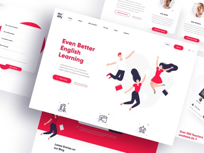 Studify -  a platform for learning English adobexd vector template ui webdesign english languages teacher lessons school design app course