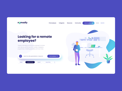 Nomadly - Home Page Hero ui work remote work employee jobs job homepage layout nomad illustration vector design