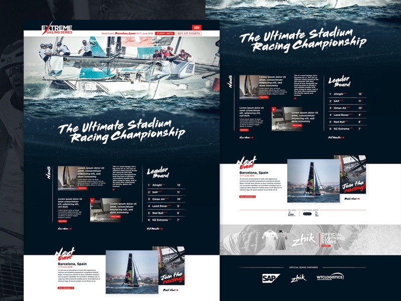 Extreme Sailing Homepage layout homepage design sailing sport ui web design graphic  design