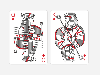 Playing Cards. Queen and King of Diamonds deck line flat character spartez civilisation ancient egypt queen king diamonds playing cards