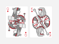 Playing Cards. Queen and King of Diamonds